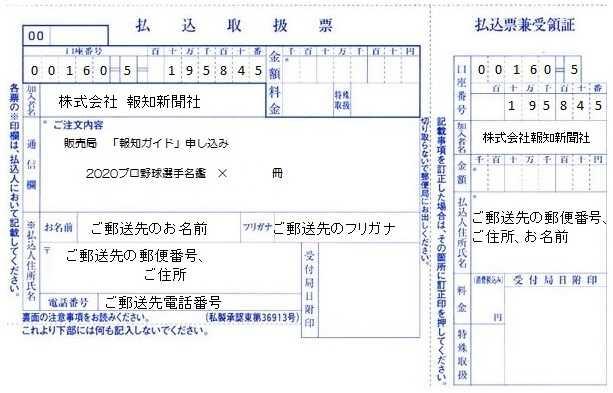 プロ野球名鑑記入例